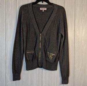 EUC Juicy Couture gray gold zip cardigan sz M